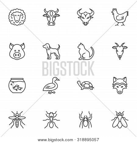 Insects And Animals Vector Icons Set, Modern Solid Symbol Collection Filled Style Pictogram Pack. Si