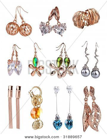 Beautiful gold earrings collection isolated on white