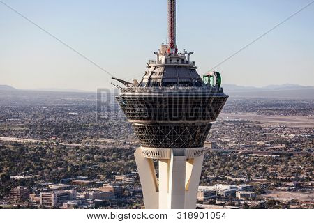 Las Vegas, Nevada, USA - March 13, 2017:  Aerial view of the top of the Stratosphere Resort Tower on the Las Vegas Strip.
