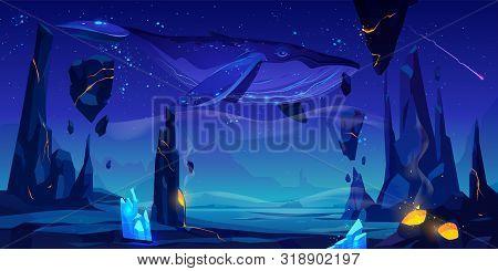Fantasy World, Alien Planet, Strange Dream, Another Dimension Illusion Cartoon Vector Background. Wh