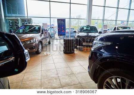 Kirov, Russia - May 07, 2019: Cars In Showroom Of Dealership Datsun In Kirov