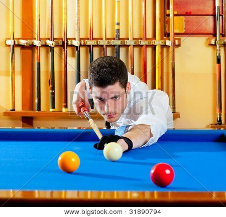 Billiard winner handsome man playing with cue and balls at club poster