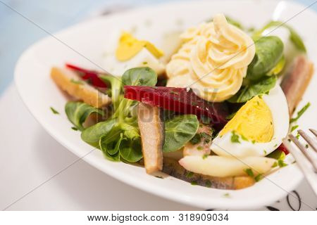 Potato Salad With Red Beet, Smoked Herring, Egg And Soy-bean Mayonnaise