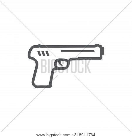 Gun Line Icon On The White Background