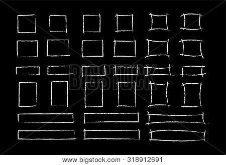 Chalk Marker Square Frame Set Vector Illustration. Group Of Hand Drawn Rectangle White Chalked Borde
