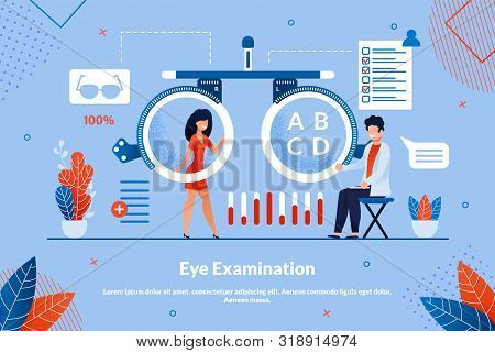 Advertising Flyer Inscription Eye Examination. Sequence Treatment By Which Desired Result Is Achieve