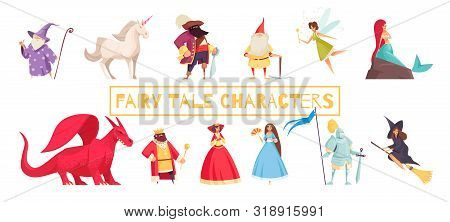 Fairy Tale Characters Set With Unicorn And Wizard Flat Isolated Vector Illustration