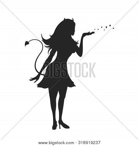 Black Silhouette Of Devil Girl. Halloween Party. Isolated Image Of Evil Woman. Glamour Lady On White