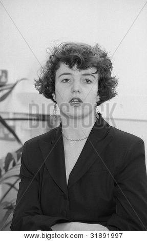 LONDON - MARCH 19: Helen Taylor, Assistant Secretary of the Democratic Left party, attends their manifesto launch press conference on March 19, 1992 in London, England.