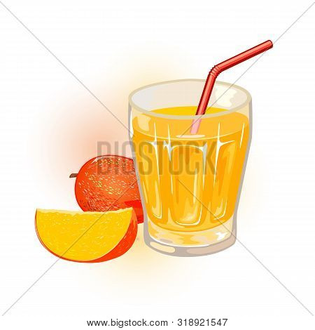 Ripe Mango, Whole And Slice Are Next To Glass Of Yellow Nectar, Juice With Straw. Aam Panna. Tropica