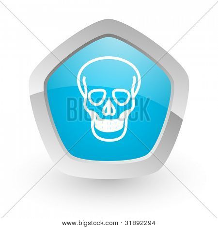 3d blue icon on white background with shadow and silver border