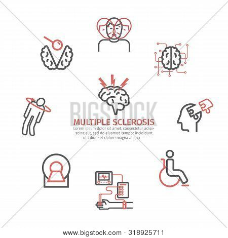 Multiple Sclerosis Banner. Symptoms, Causes, Treatment. Line Icons Set. Vector Signs For Web Graphic