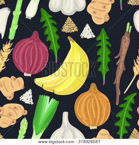 Seamless Pattern With Prebiotic Food. Nutrition. Nondigestible Fibers. Gastrointestinal Health. Heal