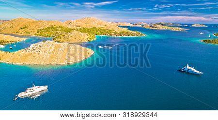 Kornati National Park Yachting Tourist Destination Aerial View, Dalmatia Archipelago Of Croatia