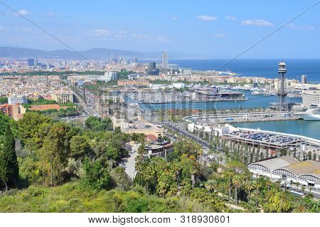 Barcelona, Spain. Top-view Of The City From Montjuic