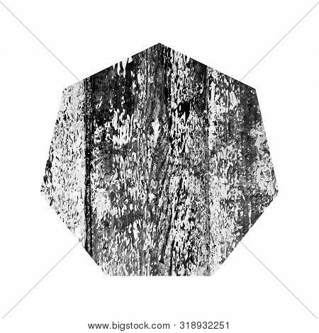 Scratched Heptagon. Dark Figure With Distressed Grunge Wood Texture Isolated On White Background. Ve