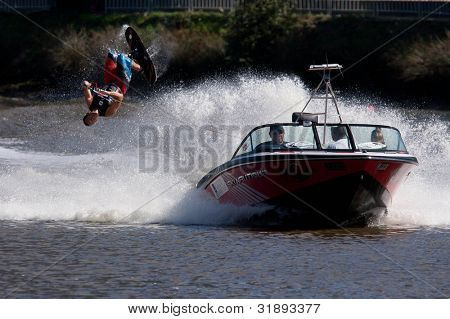 MELBOURNE, AUSTRALIA - MARCH 12: Jimmy Siemers of the USA in the trick event at the Moomba Masters on March 12, 2012 in Melbourne, Australia