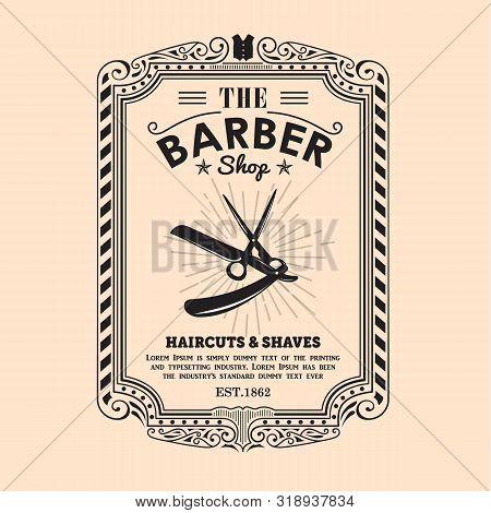 Vintage Frame Border Retro Design Label Barber Shop Border Vector