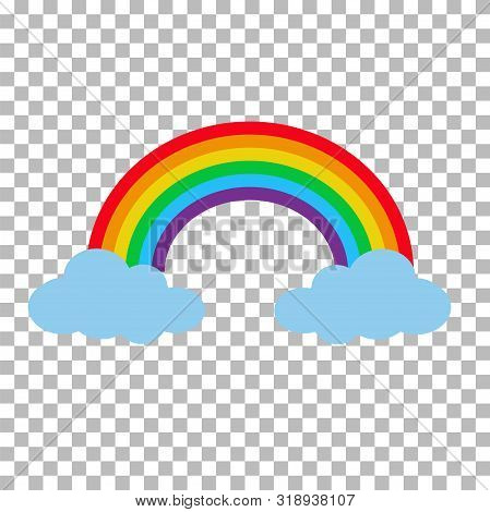 Rainbow With Clouds Isolated On Transparent Background. Cartoon Rainbow Between Clouds. Set Rainbow