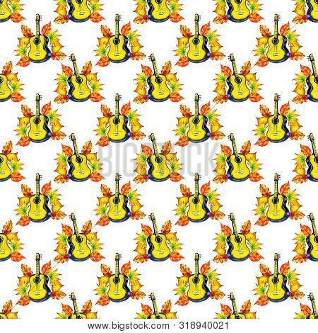 A seamless background pattern with music instrument. Watercolor guitar and autumn leaves. Autumnal repeat print with sheet music, scraps of vintage letters etc poster