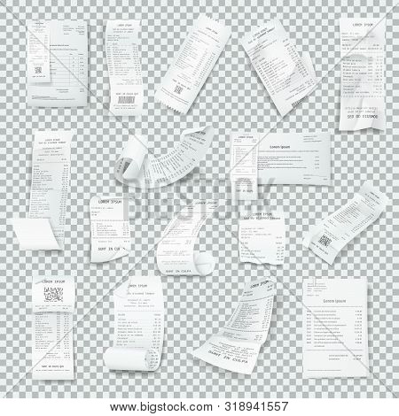 Rumpled Realistic Receipt Set. Paper Receipts With Payment,