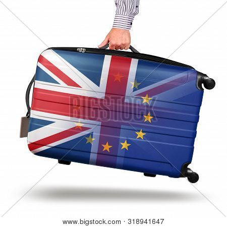 Hand Holding Modern Suitcase Union Jack Design. Leaving Eu Isolated On White Brexit Concept