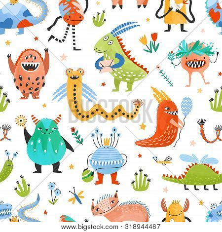 Seamless Pattern With Strange Charming Fantastic Monsters, Magical Fairytale Creatures, Funny Mutant