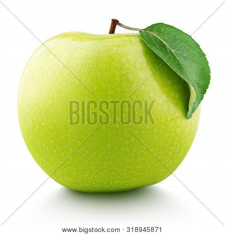 Single Ripe Green Apple Fruit With Green Leaf Isolated On White Background. Granny Smith Apple With