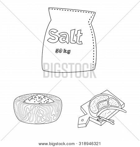 Vector Design Of Sodium And Mineral Sign. Set Of Sodium And Kitchen Stock Vector Illustration.