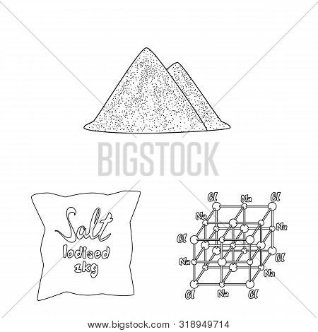 Vector Design Of Sodium And Mineral Icon. Collection Of Sodium And Kitchen Vector Icon For Stock.