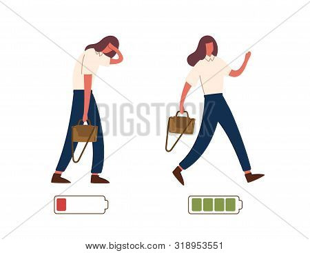 Set Of Happy And Unhappy Female Office Workers And Vital Power Or Battery Charge Indicator. Energeti
