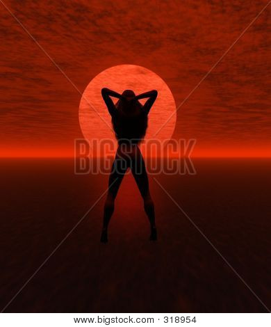 Silhouette With Sunset
