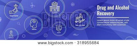 Drug & Alcohol Dependency Icon Set And Web Header Banner