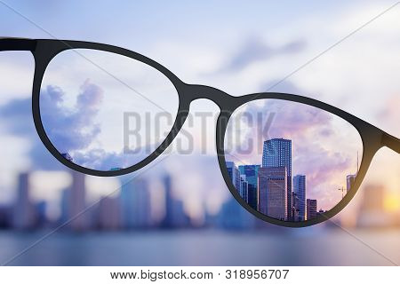 Abstract Bright City View Through Eyeglasses