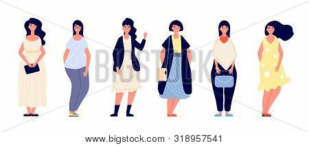 Fat Women. Plus Size Young Overweight Lady In Casual Clothes. Beautiful Curvy, Plump Female Models.