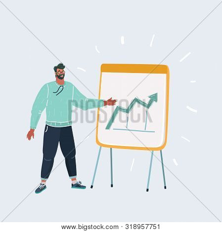 Cartoon Vector Illustration Of Man At The Flipchart.