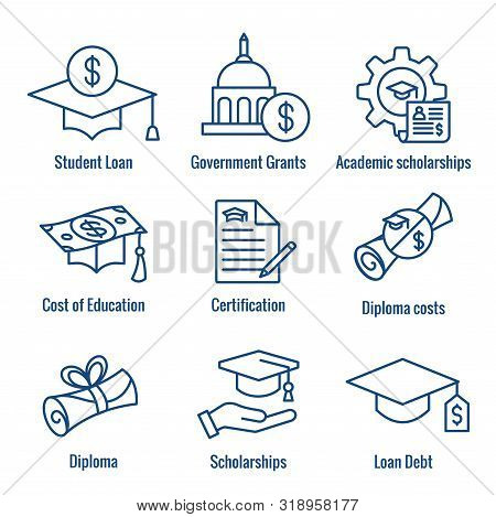 Student Loans Icon Set - Academic Scholarships And Debt Imagery