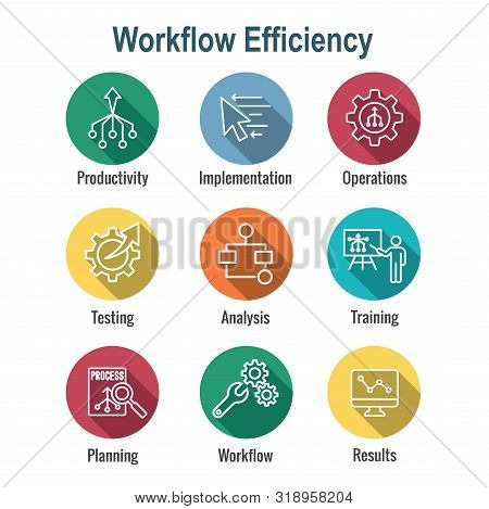 Workflow Efficiency Icon Set With Operations, Processes, Automation, Etc