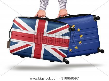 Hand Holding Modern Suitcase Uk Union Jack Design. Leaving Eu Isolated On White Brexit Concept