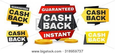 Money Cash Back Vector Labels And Stickers Set. Vector Sale Banners, Saving And Money Refund Icons.