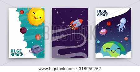 Space Flyers Vector. Cartoon Planets, Universe, Galaxy Banners Template. Cute Sun, Astronaut, Earth,