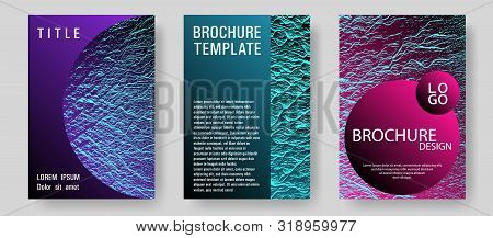 Booklet Design Vector Layouts Set. Pink Blue Purple Synthwave Textures. Cool Booklet Vector Cover Te