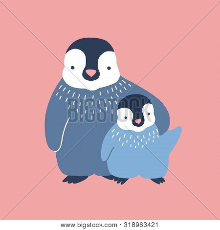 Penguin Cuddling Its Baby Or Chick Isolated On White Background. Family Of Wild Antarctic Birds. Par