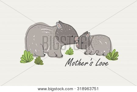 Wombat With Its Baby Isolated On White Background. Family Of Cute Wild Animals And Mothers Love Hand