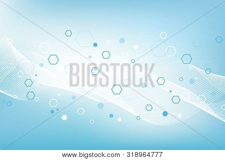 Geometric Abstract Background Molecule With Hexagons. Technology Pattern With Lines, Dots, Hexagons.