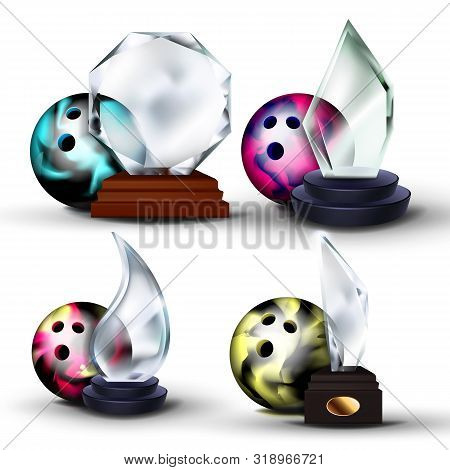 Volleyball Game Award Vector. Volleyball Ball, Glass Trophy. Modern Tournament. Design Element For S