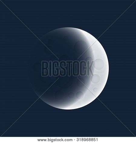 Lunar Eclipse, One Of The Phases Of The Gray Moon, Earth Shadow On The Moon, Space Planet With Crate