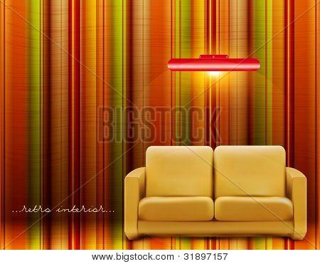 Vektor retro Zimmer mit Sofa und eine Lampe