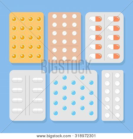 Pills blisters. Cartoon illness capsules vector illustration, aspirin tablet and antibiotic pill, painkiller drugs and paracetamol treatment dosage packages poster