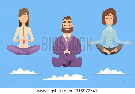 Meditation Yoga Business Group. Vector Character Businesspeople Relaxing In Meditation Poses. Illust